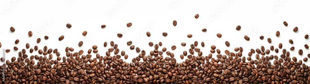 Fototapety, obrazy: Panoramic coffee beans border isolated on white background with copy space