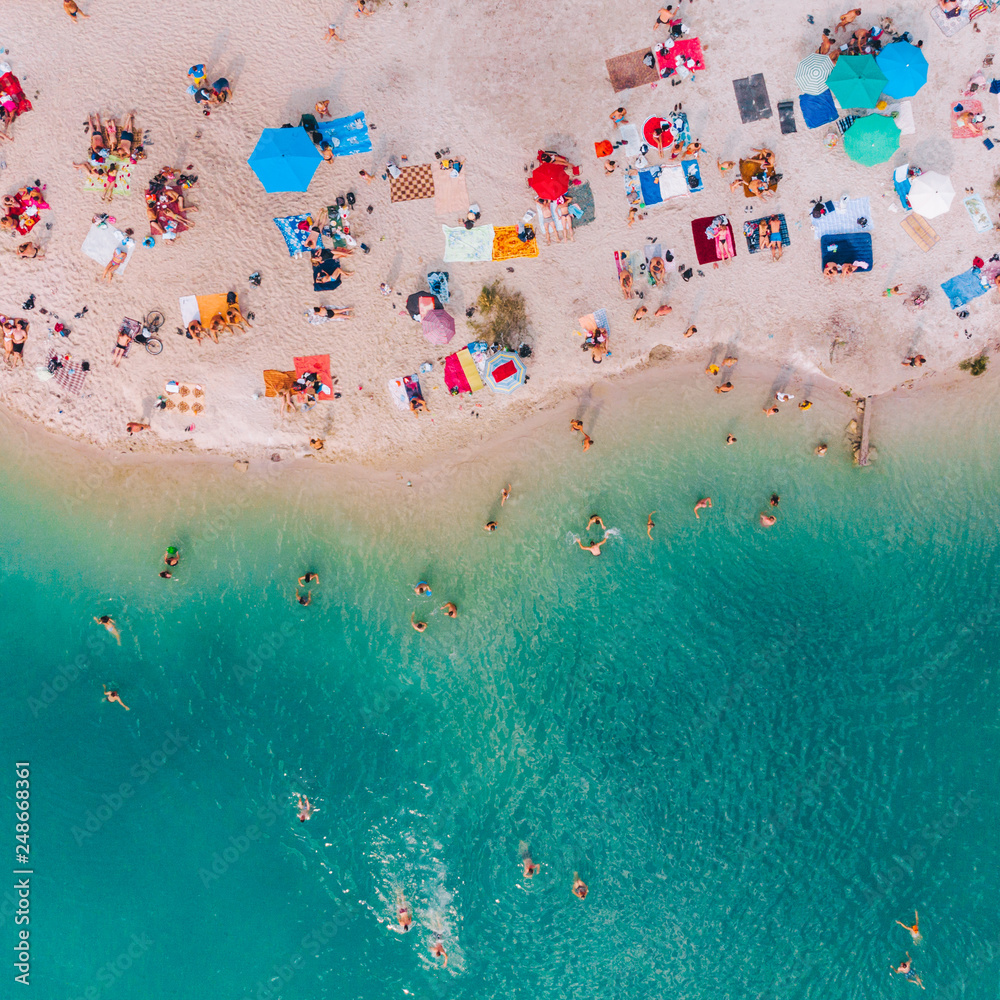 Fototapety, obrazy: aerial view of sunny sandy beach with blue azure water. summer vacation