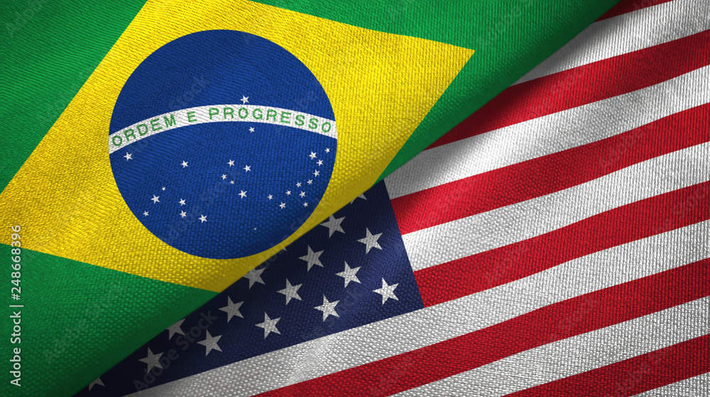 Fototapety, obrazy: United States and Brazil two flags textile cloth fabric texture