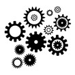 Set cogwheel silhouette pattern, isolated white color background. Techno vector pattern. Collection with from different gear wheels.