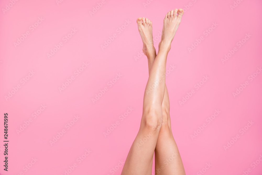 Fototapety, obrazy: Cropped close-up image view photo of nice perfect long attractive feminine fit thin slim soft smooth shine shaven legs ad advert isolated over pink pastel background