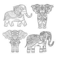 Indian Elephant Decoration. Animal Pattern For Adults Colored Pages Vector Tribal Illustrations. Animal Elephant Indian, Ethnic Tribal