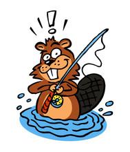 Fisherman Beaver With Fishing Rod In The Water Cartoon Joke