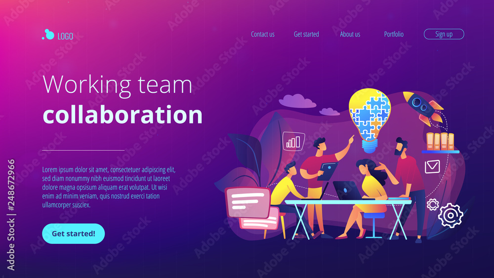 Fototapeta Business team brainstorm idea and lightbulb from jigsaw. Working team collaboration, enterprise cooperation, colleagues mutual assistance concept. Website vibrant violet landing web page template.