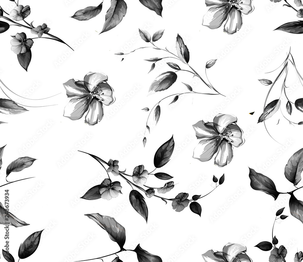 beautiful flowers branches in pattern
