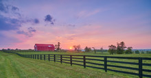 Red Barn At Sunset