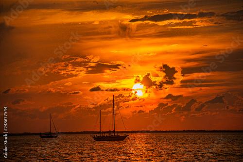 Sailboat Anchorage During Sunset