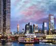 Midtown Manhattan sunset skyline as seen from a cruise ship, New York