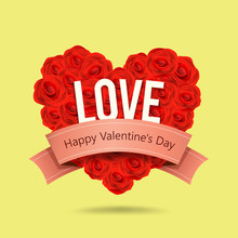 Happy Valentines Day Red Rose Heart Shape And Pink Ribbon Design On Yellow Background, Vector Illustration