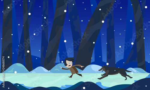 The boy runs away from the wolf at night in the woods in winter Wallpaper Mural