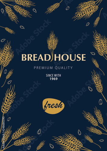 Fototapety, obrazy: Bakery background with wheats. Linear graphic. Bread banner collection. Bread house. Vector illustration