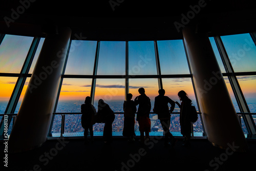 Photo sunset views, tourists at Tembo Deck observation deck