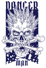 Detailed Graphic Realistic Winter Human Skull With Ice Spikes And Crossed Bones. On Blue Grunge Background. Vector Icon.