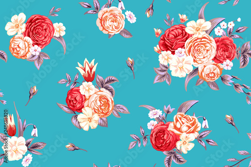 Fotografía  Seamless pattern with vintage pale roses