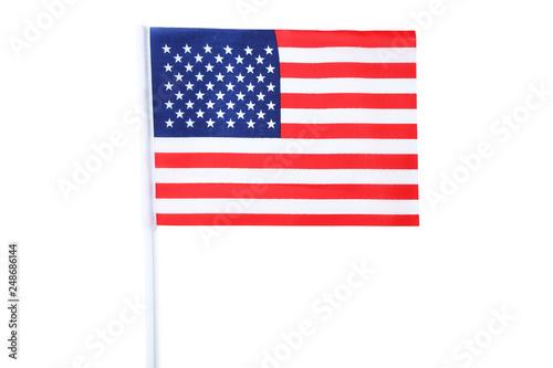 Fotografie, Tablou  American flag on white background