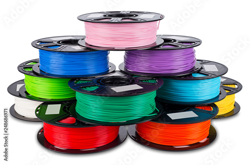 Vászonkép colorful bright stack pile of spool 3d printer filament