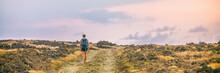 Hike Trail Hiker Walking Alone On Desert Landscape On Trek Adventure Banner Panorama. Nature Travel Wanderlust Man Person Traveler.