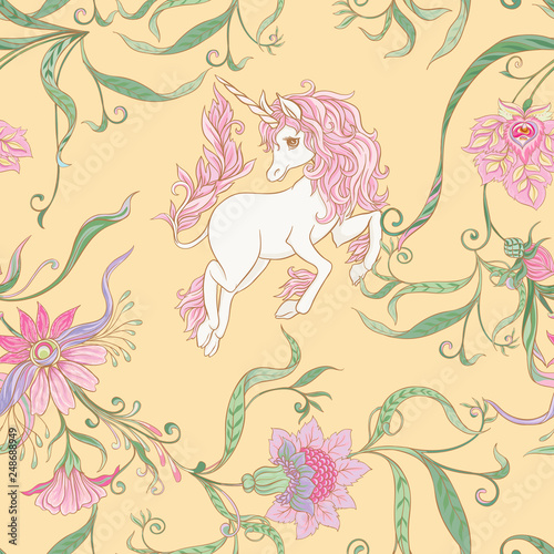 Photo Stands Draw Seamless pattern, background with unicorn
