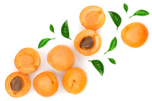 Apricot Fruits With Leaves Iso...