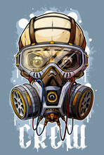 Detailed Graphic Cool Realistic Colorful Human Skull With Protective Gas Mask And Crazy Eyes. Isolated On Blue Grunge Background. Vector Icon.