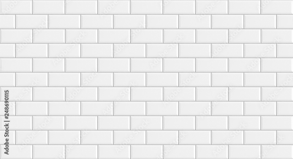 Fototapeta White rectangle mosaic tiles texture  background. Classic white metro tile. Long wide picture.