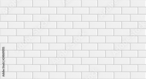 White rectangle mosaic tiles texture  background Fototapeta