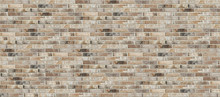 Long Wide Old Dirty Red Brick Wall Texture Background. Horizontal Panoramic View Of Brick Wall.
