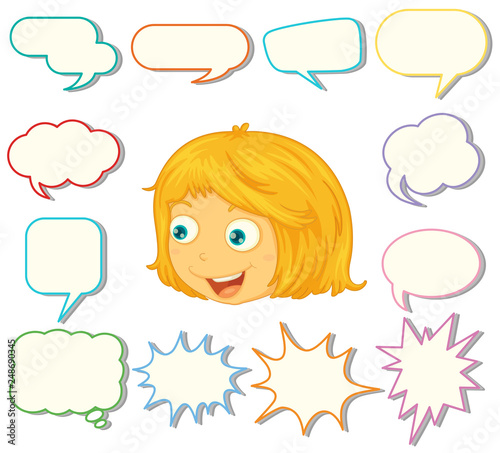 A girl with different speech balloon