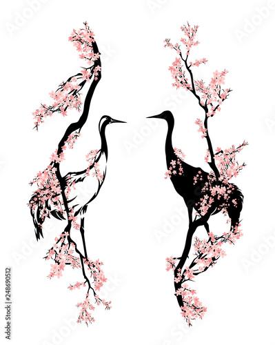 Naklejki żurawie  japanese-crane-bird-walking-among-blooming-sakura-branches-asian-style-spring-season-vector-design
