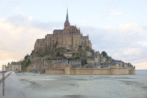 Fotografie, Tablou  Mont Saint-Michel at sunset sky clouds twilight perspective walkway leading line