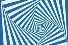 Optical Illusion Background. Geometric Blue Vortex