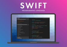 Swift Programming Language. Learning Concept On The Laptop Screen Code Programming. Swift Command Line Interface With Flat Design And Gradient Purple Background.