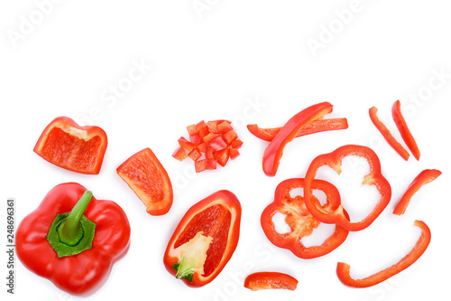 Fotografia red sweet bell pepper isolated on white background with copy space for your text