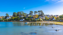 Brittany, Ile Aux Moines Island In The Morbihan Gulf, The Typical Harbor And Village, Low Tide