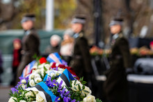 Abstract Background On Military Theme. Flower Bouquet With Estonian Flag Colors Ribbon. A Change Of Soldiers' Guard In The Background - Image
