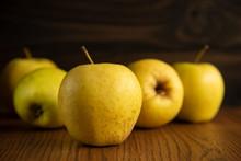 Yellow Apple On The Wooden Vin...