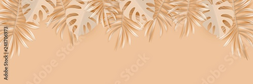 Golden tropical banner with palm leaves monochrome horizontal backdrop. Exotic hawaiian jungle design, summertime and autumntime background. Pastel monochrome minimal style vector illustration