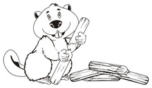 Coloring Beaver With Many Logs