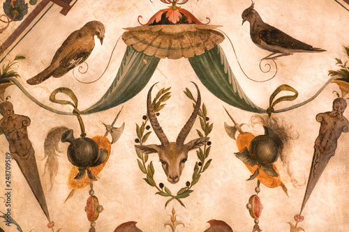 Roe deer and birds on fragment of fresco inside 14th century Palazzo Vecchio, Florence. Medieval art of Italy