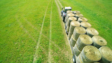 Round Bales Transportation On Tractor Trailer
