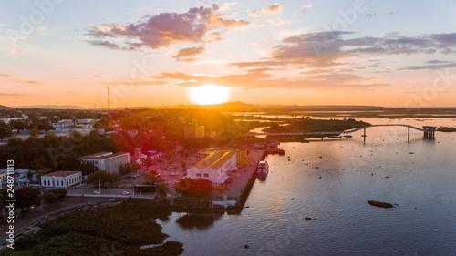 Foto auf AluDibond Schokobraun Sunset Pantanal River Paraguai