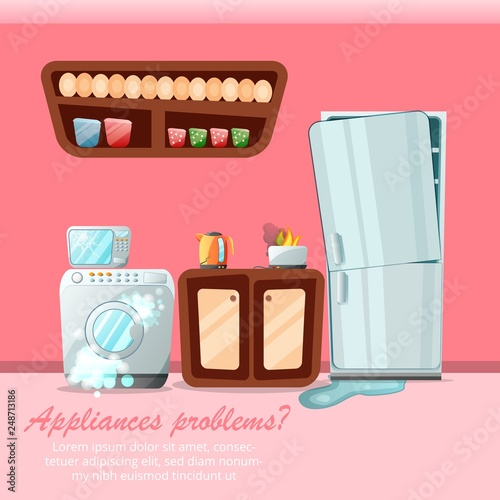 Modern Cartoon Flat Home Repair Service Concept Damaged Consumer Electronics Appliances Small Business Flyer Banner Concept Broken Household Goods With Copy Space Ready To Use Vector Illustration Buy This Stock Vector And Explore Similar Vectors