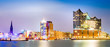 canvas print picture - Elbphilharmonie and Hamburg harbor at night
