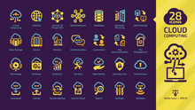 Cloud Computing Yellow Glyph Icon Set On A Dark Violet Background With Network Data Server And Internet Technology, Database Platform, Computer Digital System Colorful Sign.