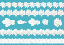 Vector 3d Realistic Collection Of Seamless Cream Borders For Cake, Pie. Confectionery Element In White Color, Isolated On Blue Background. Whipped Milk Product, Yogurt Twirls. Decoration For Dessert.