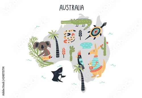 Canvas Print Animal World Map - mainland Australia