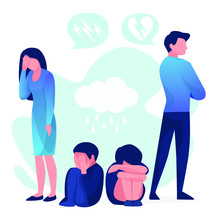 Angry Father Turned Away From The Child. Sad Child Sitting On The Floor.Vector Illustration In A Flat Style