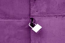 Old Padlock On Metal Gate In Purple Color.