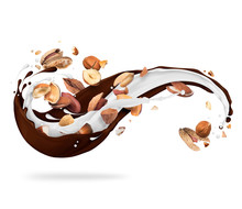 Different Nuts With Milk And Chocolate Splashes, Isolated On White Background