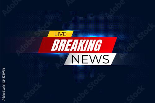 Valokuvatapetti Breaking news background with graphic map